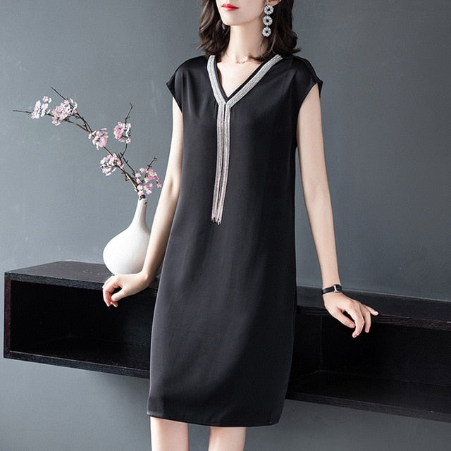 Black V-Neck Tassel Dress - Source Silk