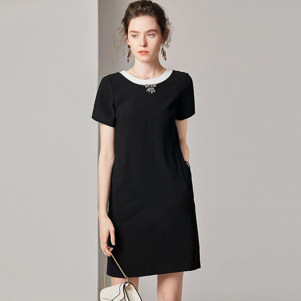 Black and White Shift Dress - Source Silk