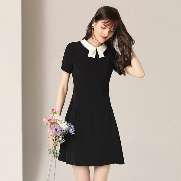 Babydoll Black and White Turndown Collar Dress - Source Silk