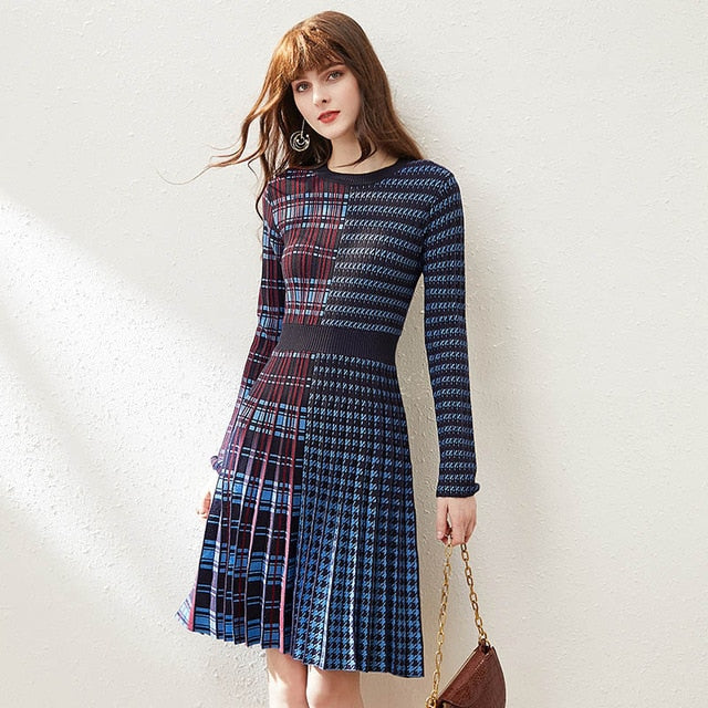 Dual Patterned Plaid and Striped Dress - Source Silk