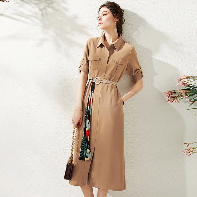 Elegant Fashion Women Shirt Dresses Turn-down Collar Three Quarter Sleeve Solid Casual Pocets Sashes Lady Long A-line Dress - Source Silk