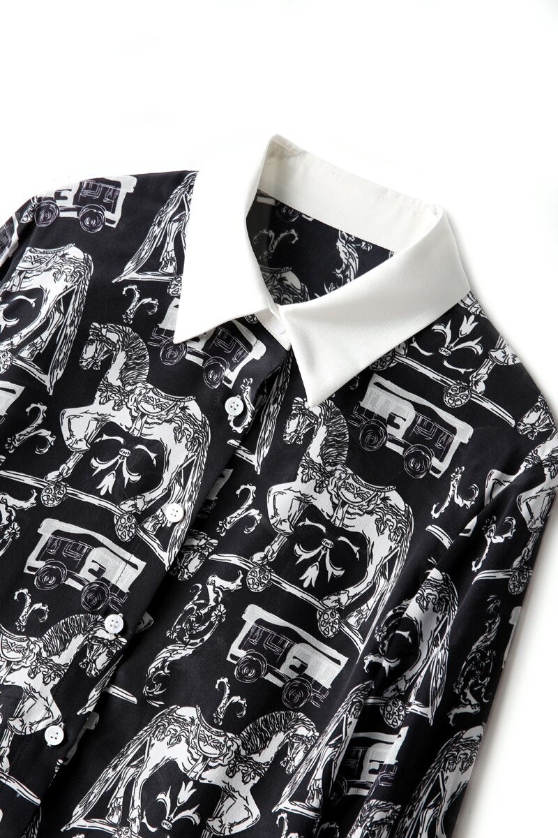 Rocking Horse Black and White Printed Blouse - Source Silk