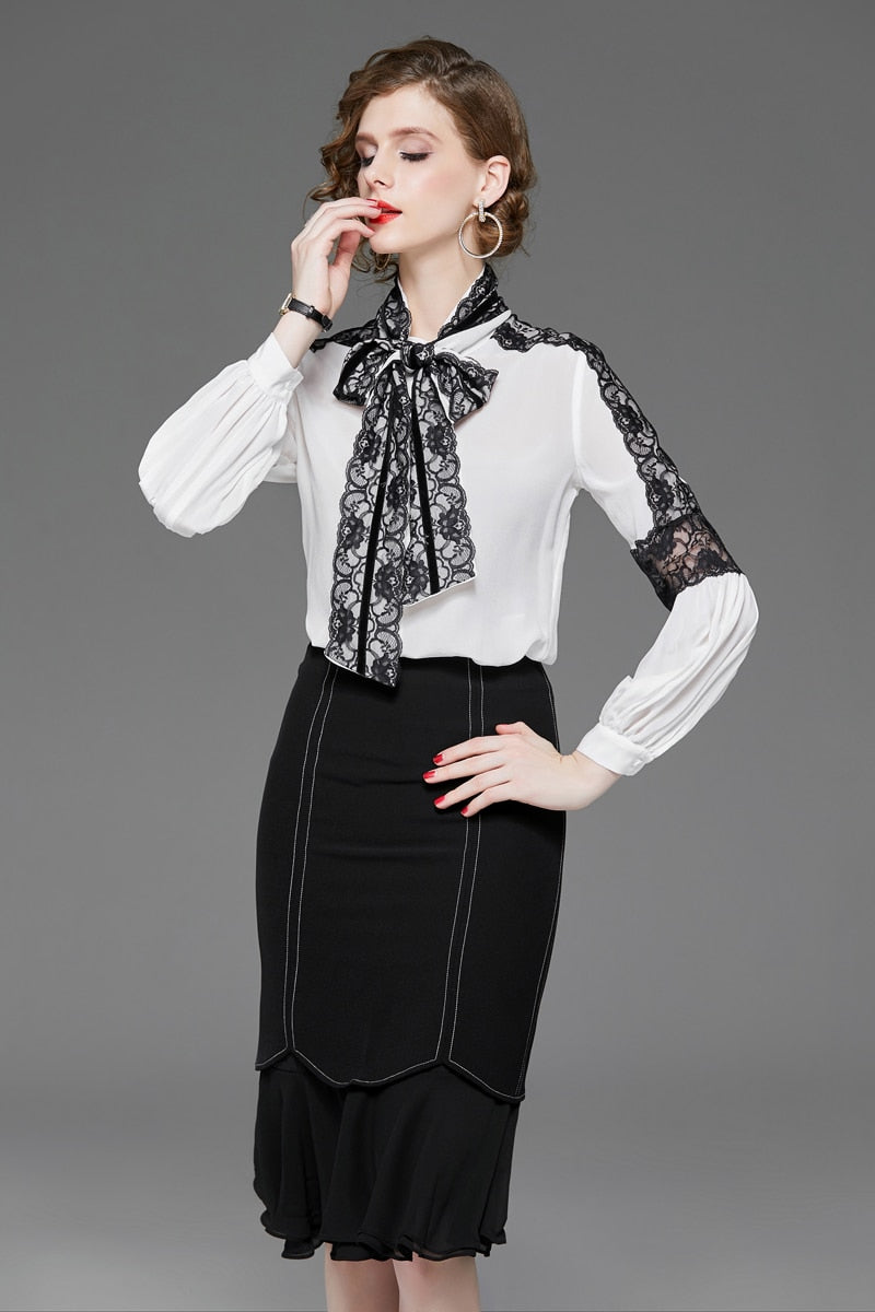 100% Pure Silk Women's Runway Shirts Bow Collar Long Sleeves Lace Patchwork Elegant Fashion Shirt Blouse - Source Silk