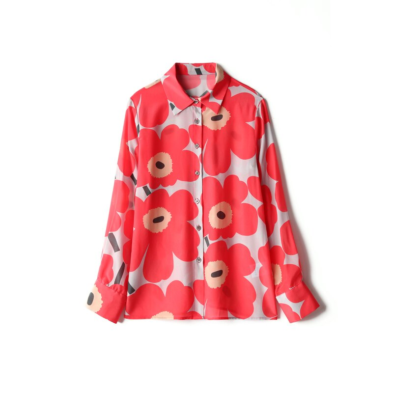 100% Pure Silk Women's Runway Shirts Turn Down Collar Floral Printed Long Sleeves Elegant Fashion Shirts Blouses