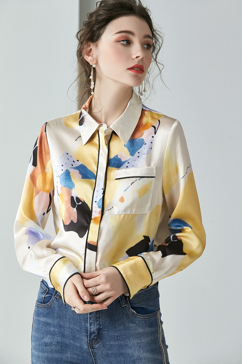 100% Pure Heavy Silk Women's Shirts Turn Down Collar Long Sleeves Printed Elegant Blouse Shirt - Source Silk