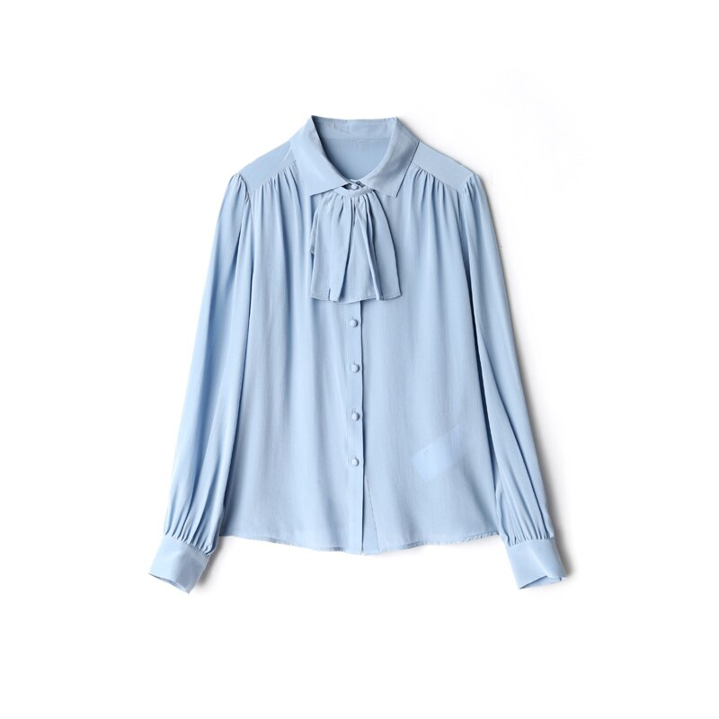 100% Silk Women's Runway Shirt Turn Down Collar Ruffles Ruched Long Sleeves Lace Patchwork Elegant Casual Blouse - Source Silk