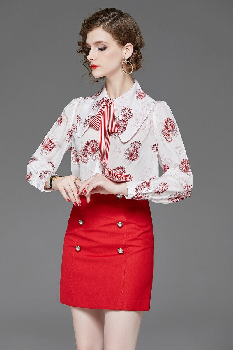 100% Pure Silk Women's Runway Shirts Turn Down Collar Striped Bow Long Sleeves Printed Fashion Casual Blouse Shirt - Source Silk