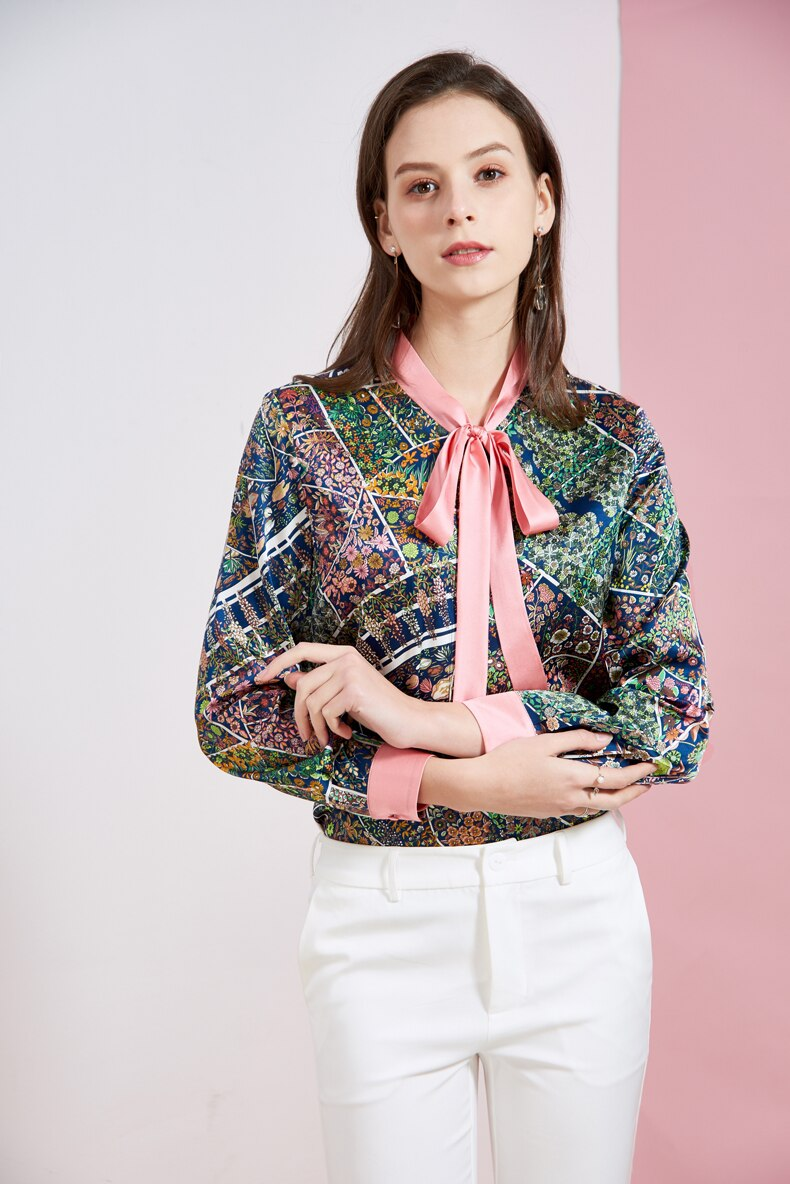 Women's Silk Runway Shirt Bow Collar Floral Printed Long Sleeves Fashion Blouse Shirt