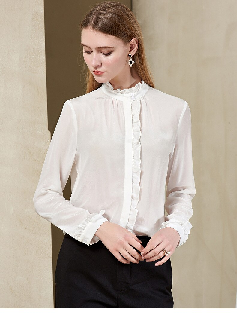 Ruffled Mock Neck Blouse - Source Silk