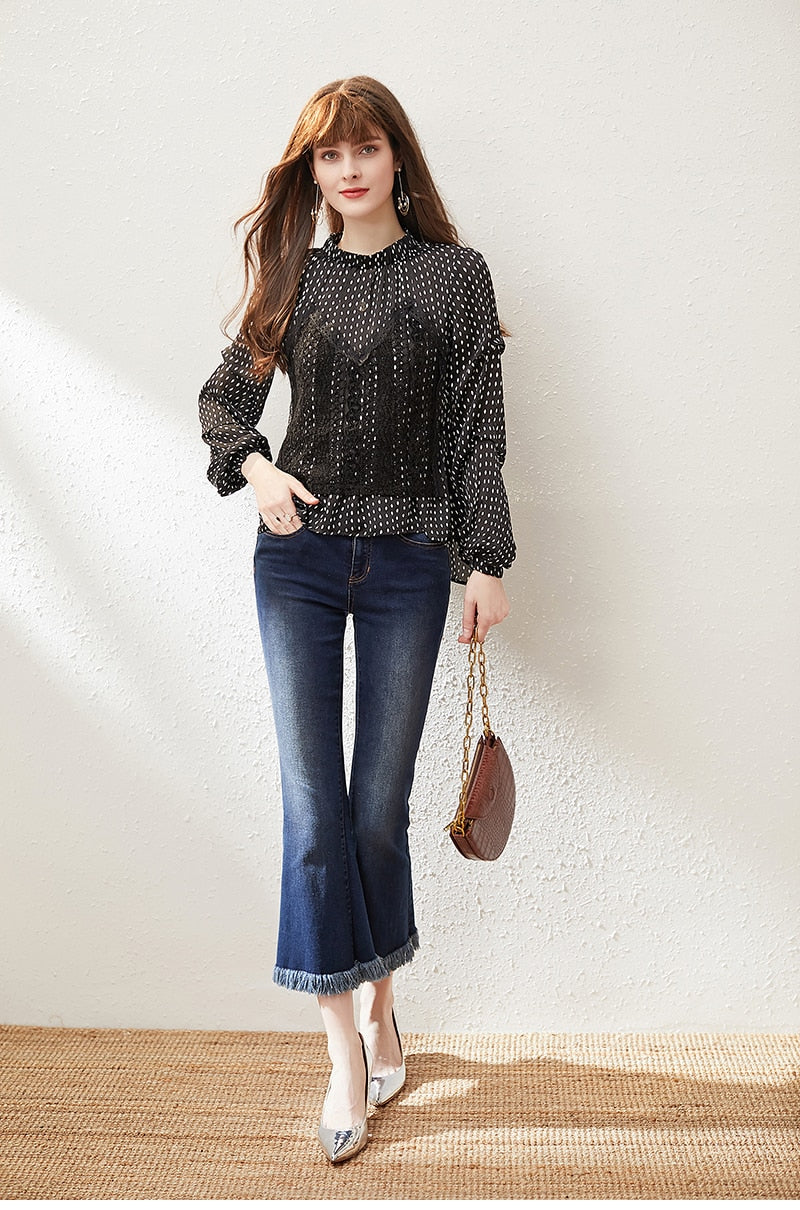 Lace and Polka Dots Loose Blouse - Source Silk