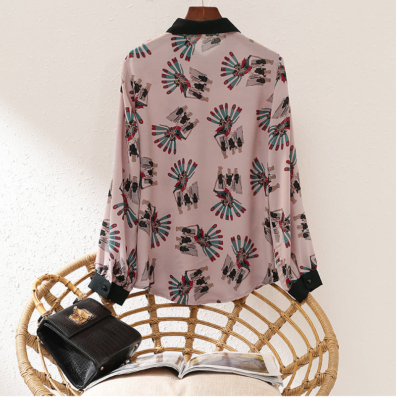 Turn Down Collar Vintage Loose Chiffon Blouse - Source Silk