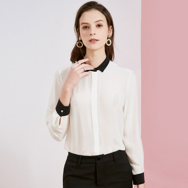100% Natural Silk Women's Runway Shirt Turn Down Collar Color Block Long Sleeves Elegant Fashion Blouse Shirt - Source Silk