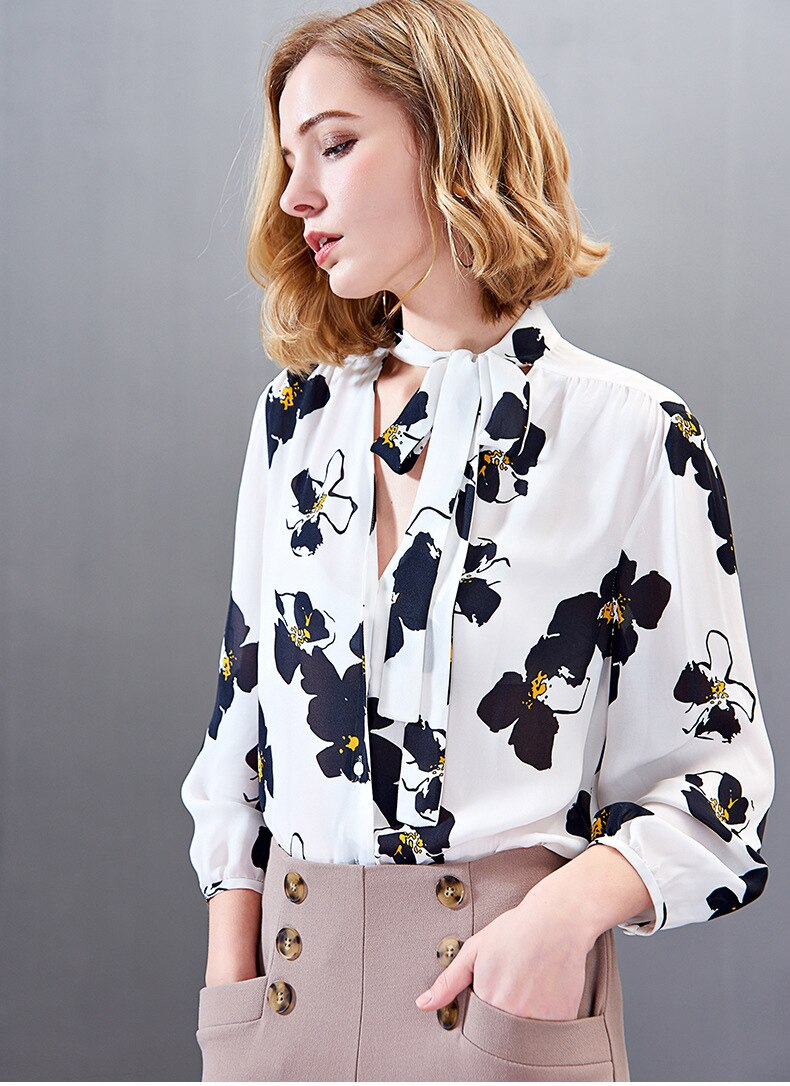 100% Pure Silk Women's Shirts Lace Up Bow Collar Floral Printed Wrist Sleeves Fashion Casual Blouse Shirt - Source Silk