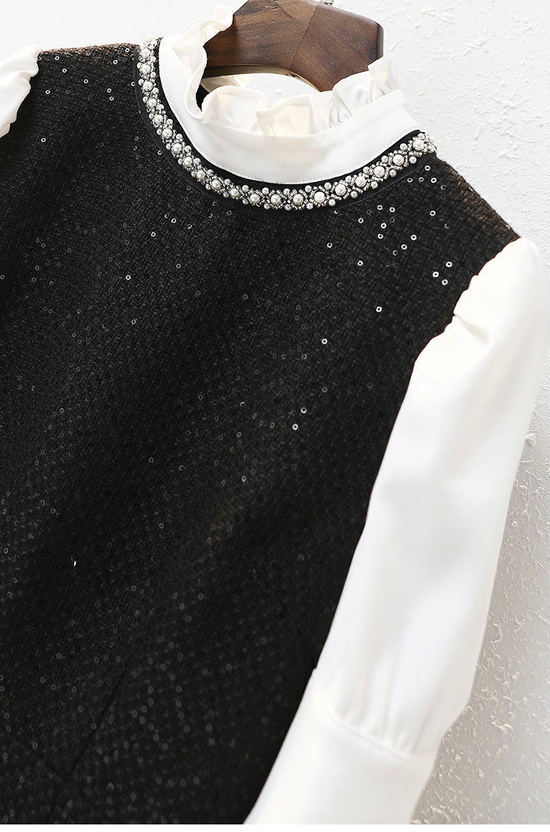 Office Lady Fashion Party Dress Spring Autumn Elegant Stand Collar White Patchwork Black Beading Slim Women's Pencil Dresses - Source Silk