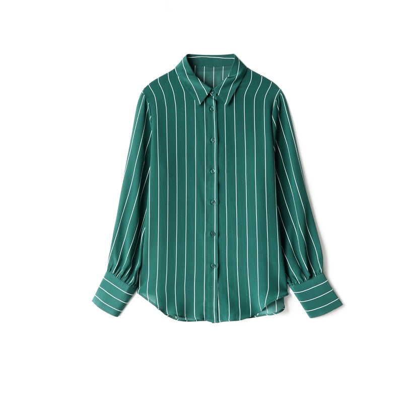 100% Pure Silk Women's Shirts Turn Down Collar Striped Printed Long Sleeves Fashion Casual Blouse Shirt Tops