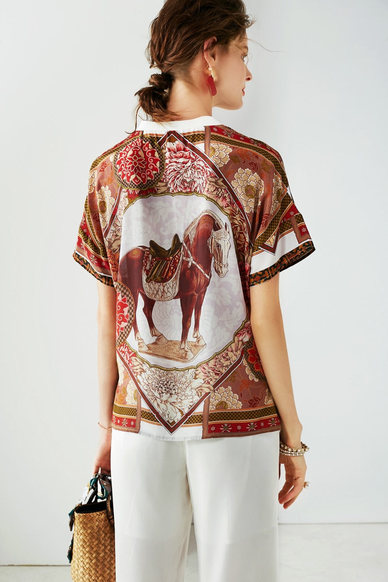 Loose Fitting Artistic Horse TShirt - Source Silk