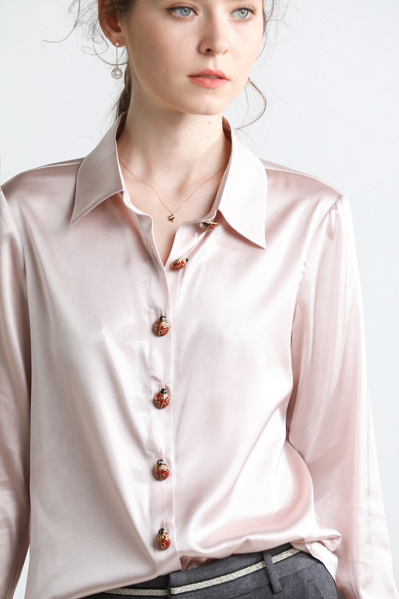 100% Pure Heavy Silk Women's Runway Shirt Turn Down Collar Long Sleeves Buttons Detailing Fashion Blouse Shirt Tops - Source Silk