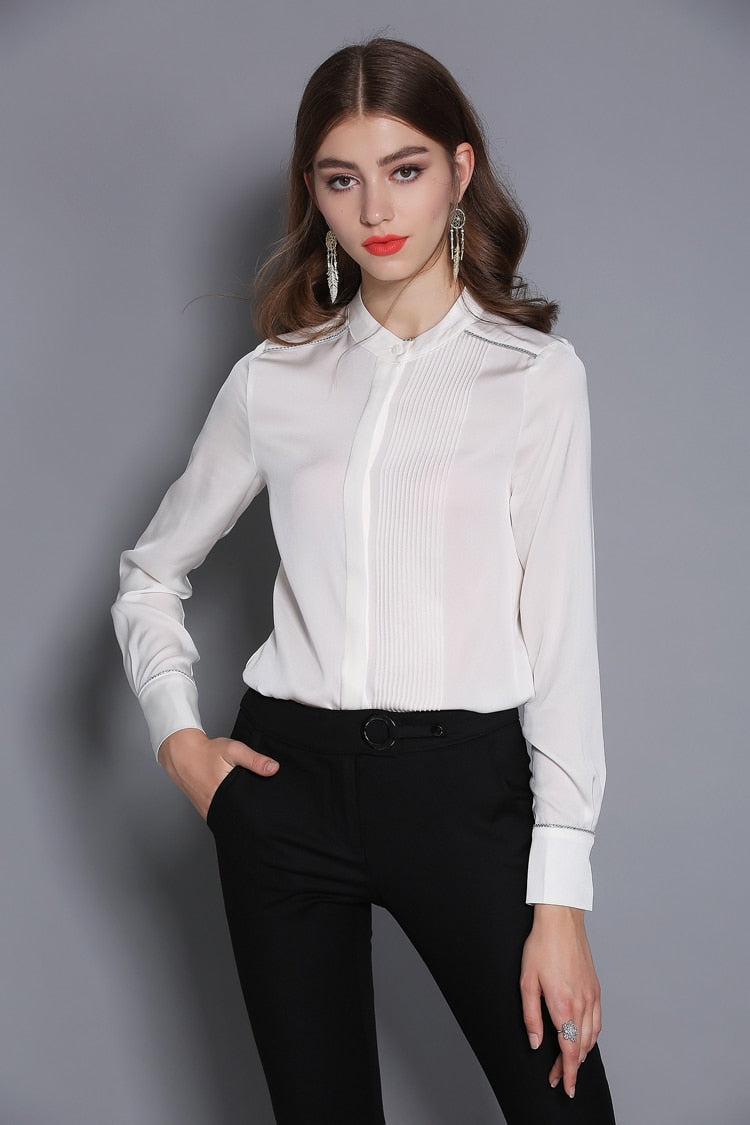 100% Pure Silk Women's Shirts O Neck Pleated Piping Long Sleeves Elegant Blouse Shirt Top - Source Silk