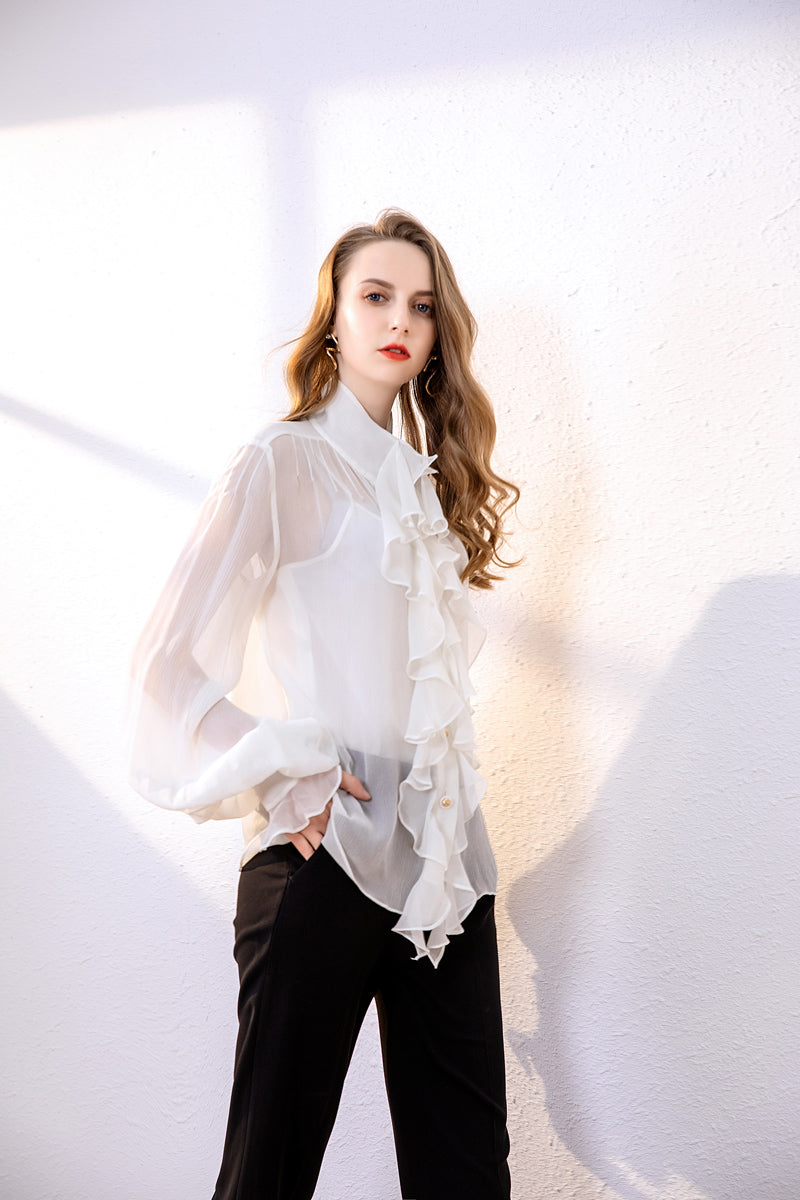 100% Pure Silk Women's Runway Shirts O Neck Long Sleeves Ruffles Fashion Elegant Shirt Blouse Tops - Source Silk