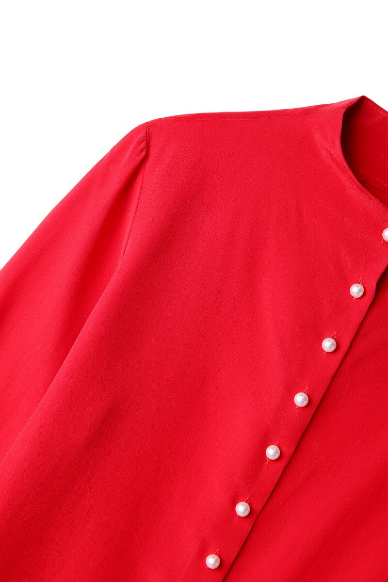 100% Pure Silk Women's Runway Shirts O Neck Long Sleeves High Street Fashion Casual Blouse Shirt - Source Silk
