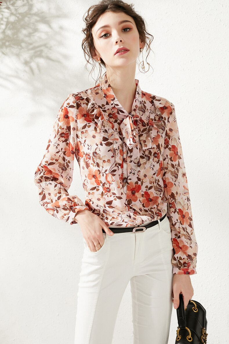 100% Natural Silk Women's Runway Shirts Bow Collar Floral Printed Long Sleeves Fashion Casual Blouse Shirt - Source Silk