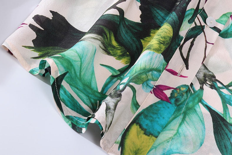 Tropical Green Tied Floral Blouse - Source Silk