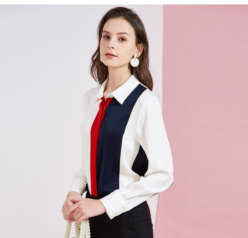 Women's Silk Shirt Turn Down Collar Long Sleeves Color Block Fashion Elegant Blouse Shirt