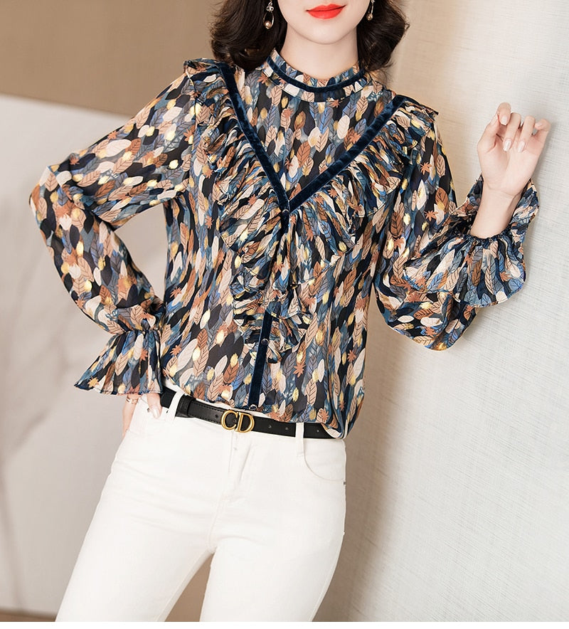 Feather Patterned Bohemian Blouse - Source Silk