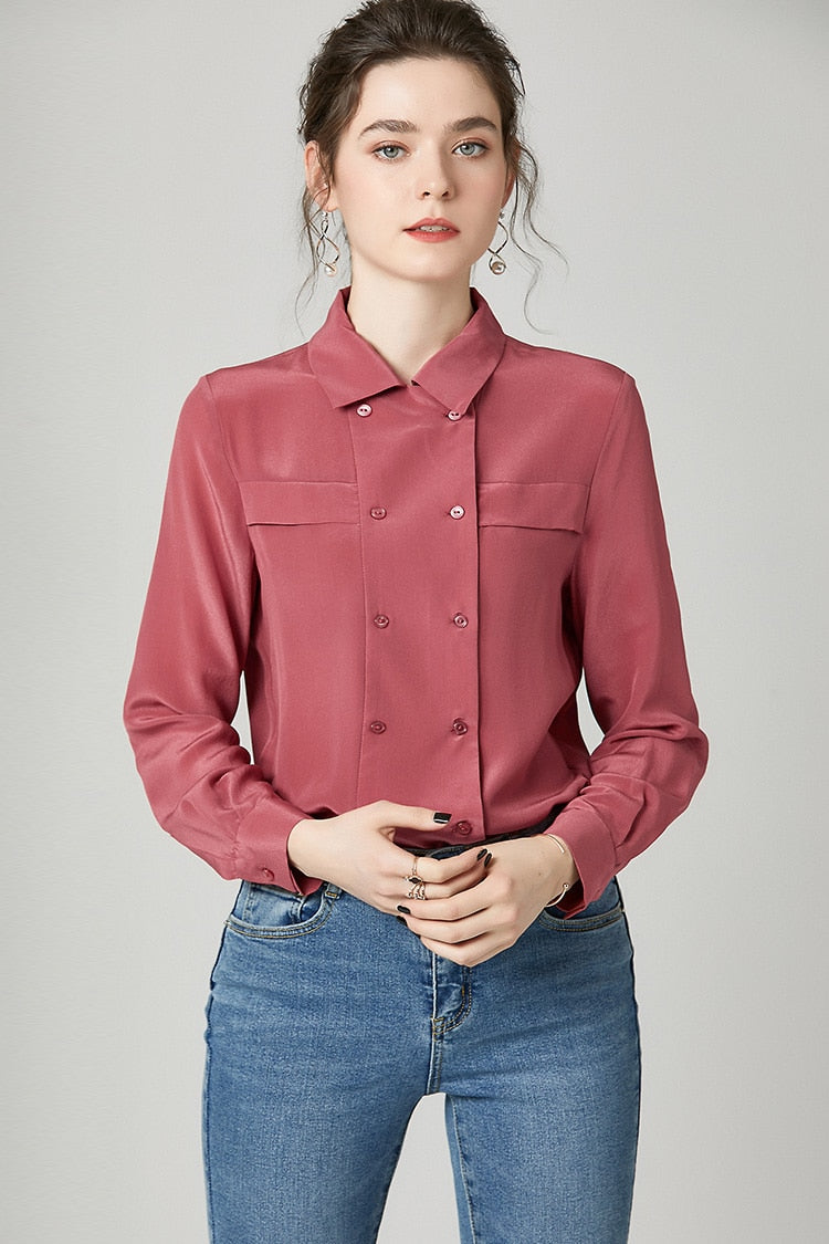 100% Pure Silk Women's Runway Shirts Turn Down Collar Long Sleeves Double Breasted Fashion Blouse Shirt - Source Silk