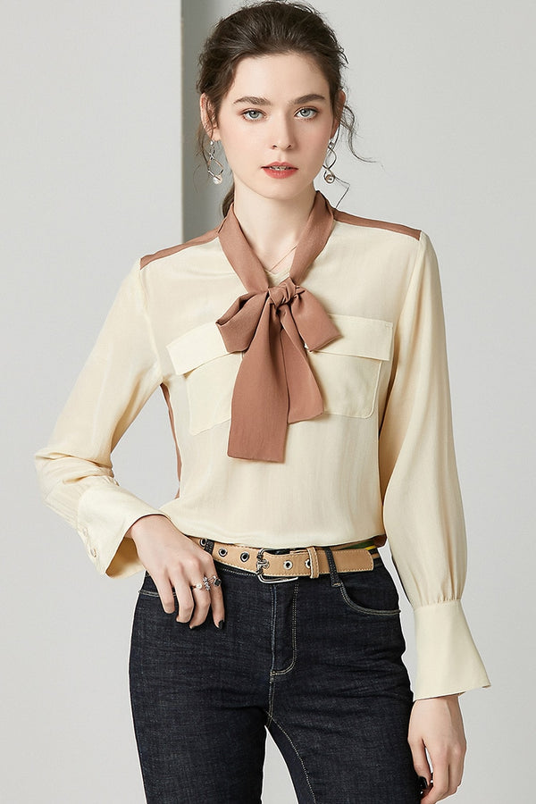 100% Natural Silk Women's Runway Shirt Bow Collar Long Sleeves Front Pockets Back Buttons Fashion Blouse Shirt - Source Silk