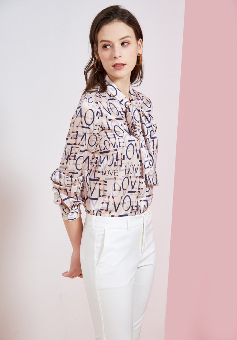 Women's Heavy Silk Runway Shirt Bow Collar Long Sleeves Letters Printed Fashion Elegant Casual Shirt Blouse - Source Silk