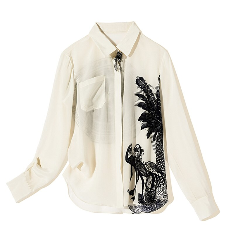 100% Pure Silk Women's Designer Shirts Turn Down Collar Long Sleeves Printed Fashion Blouse Shirt with Brooch - Source Silk