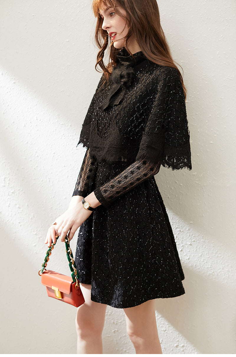 Office Lady Fashion Black Dress Autumn Winter Vintage Bow Cape+Bright Wire A-line Hollow Out Lace Dress Women's Two-piece Sets - Source Silk