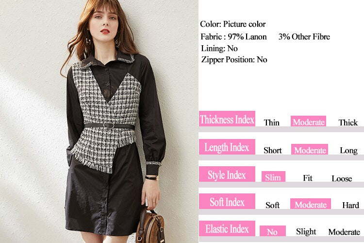 Asymmetrical Tweed Casual Dress - Source Silk