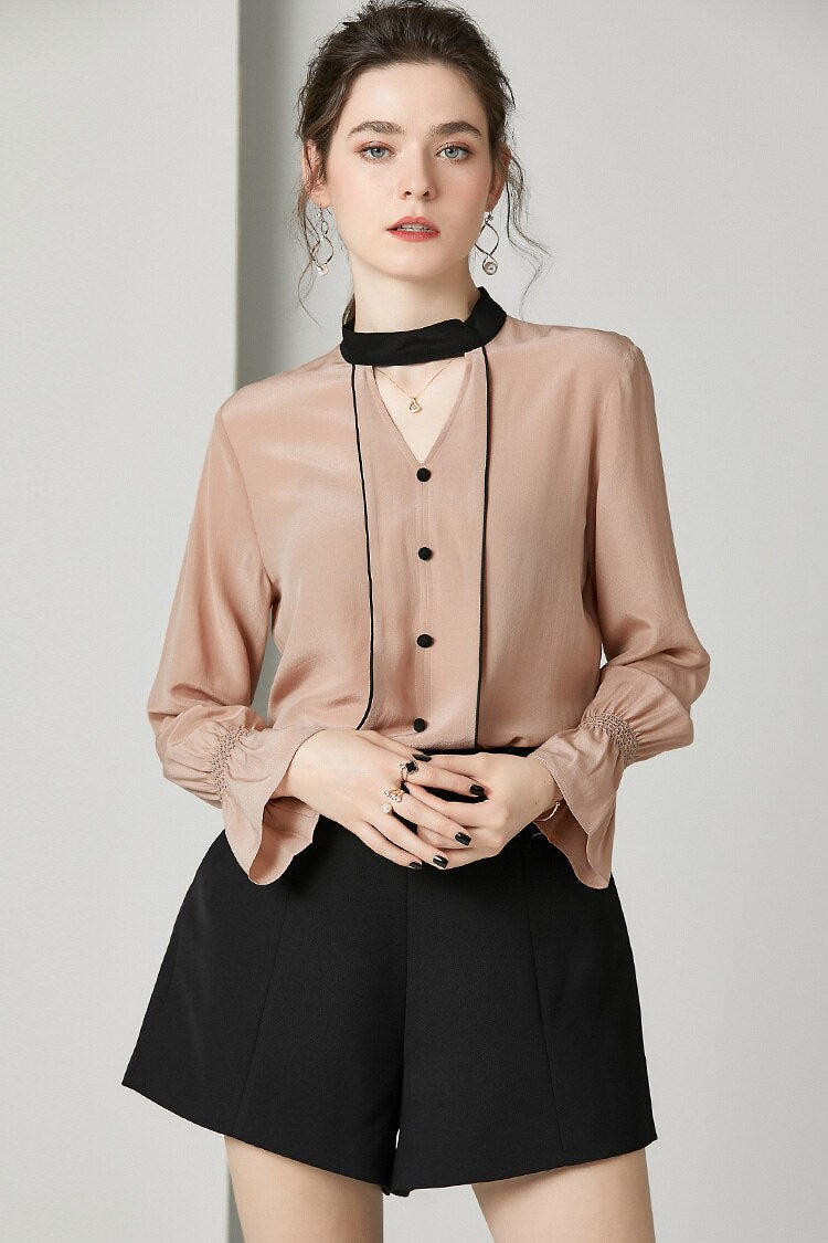 100% Pure Silk Women's Runway Shirts O Neck Sexy Keyhole Ruffles Fashion Blouse Shirt - Source Silk