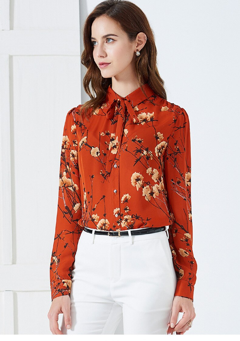 100% Pure Silk Women's Shirts Lace Up Bow Collar Long Sleeves Floral Printed Elegant Fashion Casual Blouse Shirt - Source Silk