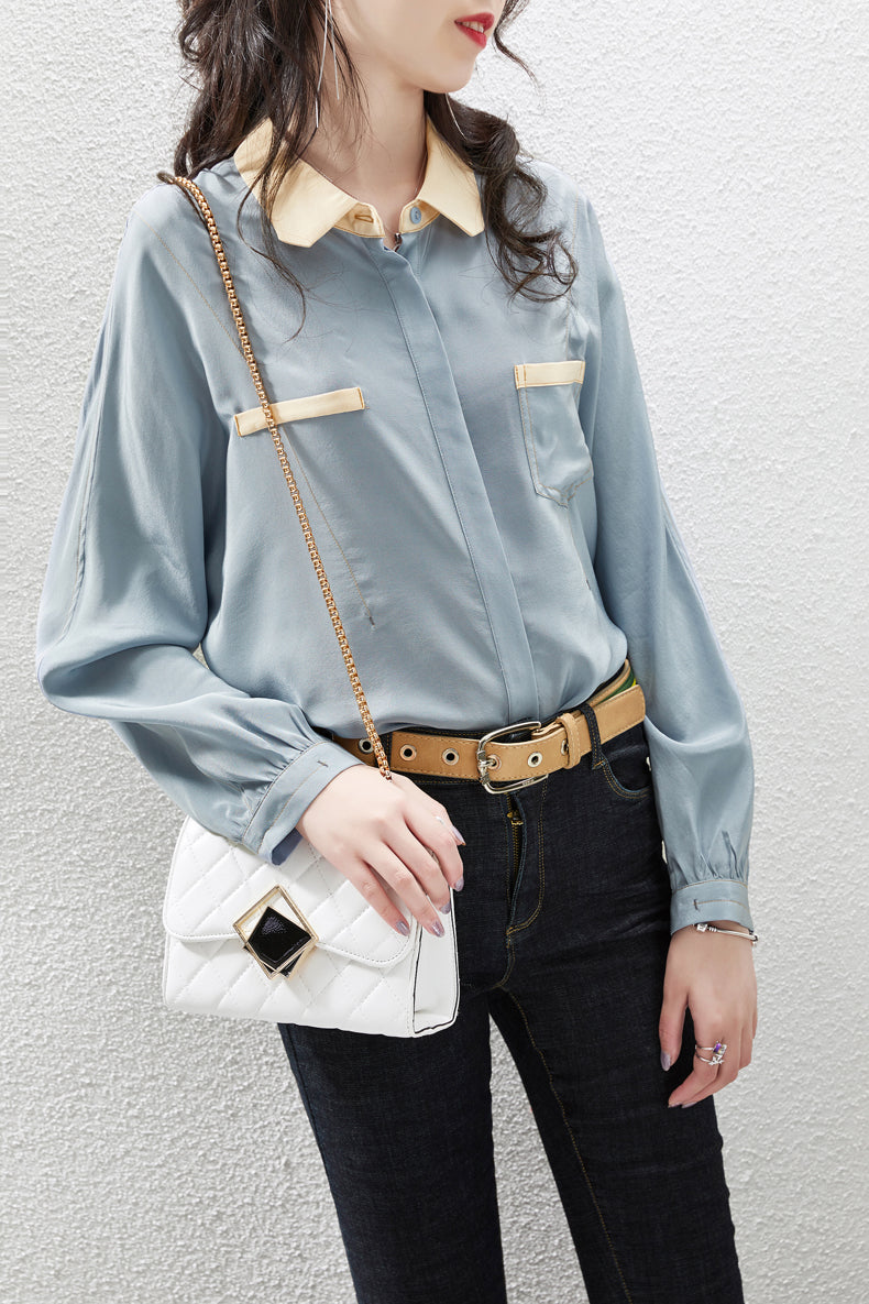 100% Pure Silk Women's Designer Shirts Turn Down Collar Long Sleeves Color Block Fashion Casual Shirt Blouse - Source Silk