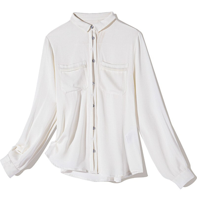 100% Pure Silk Women's Runway Shirts Turn Down Collar Long Sleeves Ruched Elegant Casual Shirt Blouse - Source Silk