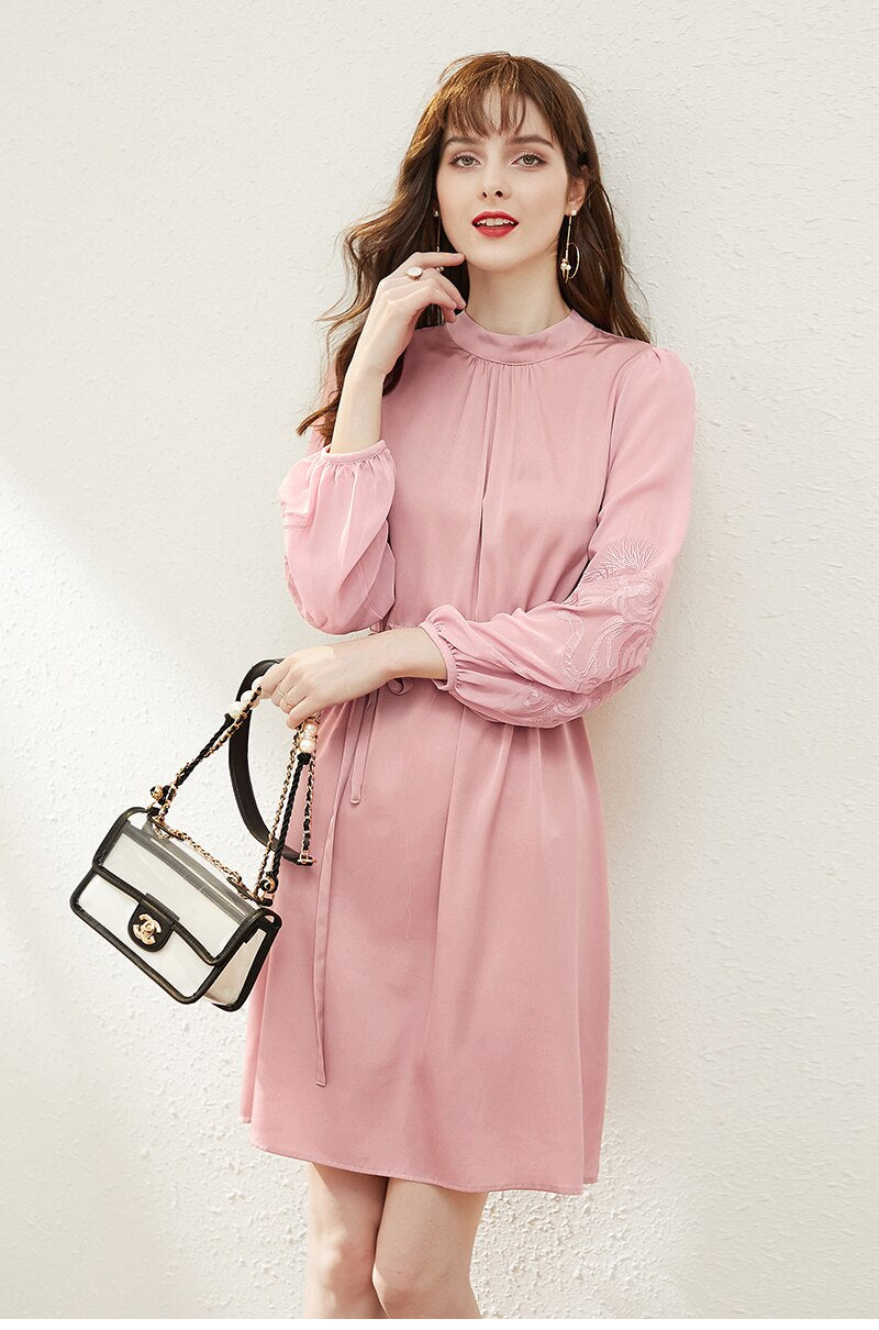 Women Sweet Pink Natural Silk Dresses Elegant Stand Collar Embroidery Chiffon Long Sleeve Patchwork Real Silk Lady A-line Dress - Source Silk