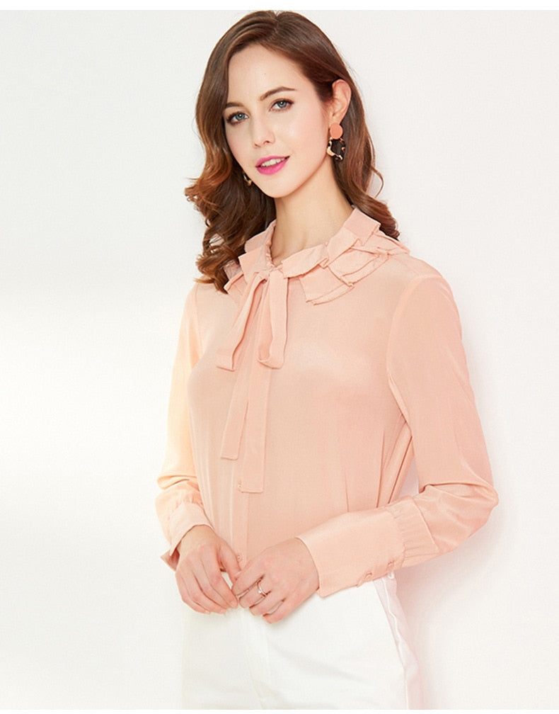 100% Natural Silk Women's Runway Shirt Turn Down Collar Ruffles Long Sleeves Lace Up Elegant Blouse Shirt - Source Silk