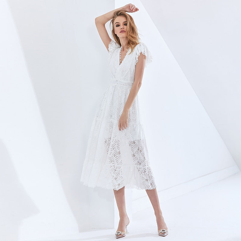 Hollow Out Elegant Women's Dress V Neck Short Sleeve High Waist Patchwork Lace White Dresses For Female 2021 Tide