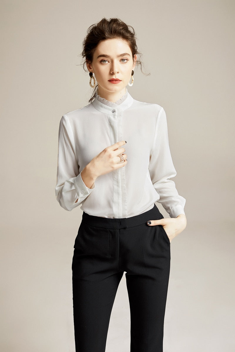 100% Pure Silk Women's Runway Shirts O Neck Ruffles Long Sleeve Ruffled Piping Elegant Casual Shirt Blouse Tops - Source Silk