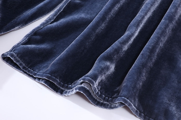 100% Pure Silk Women's Runway Velour Shirts O Neck Long Sleeves Sash Bow Elegant Pullover Velvet Blouse Shirt - Source Silk