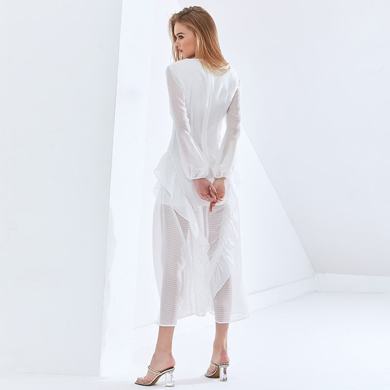 Sexy Party Perspective Dress For Women V Neck Long Sleeve High Waist Slim Ruffle White Overiszed Dresses 2021 New
