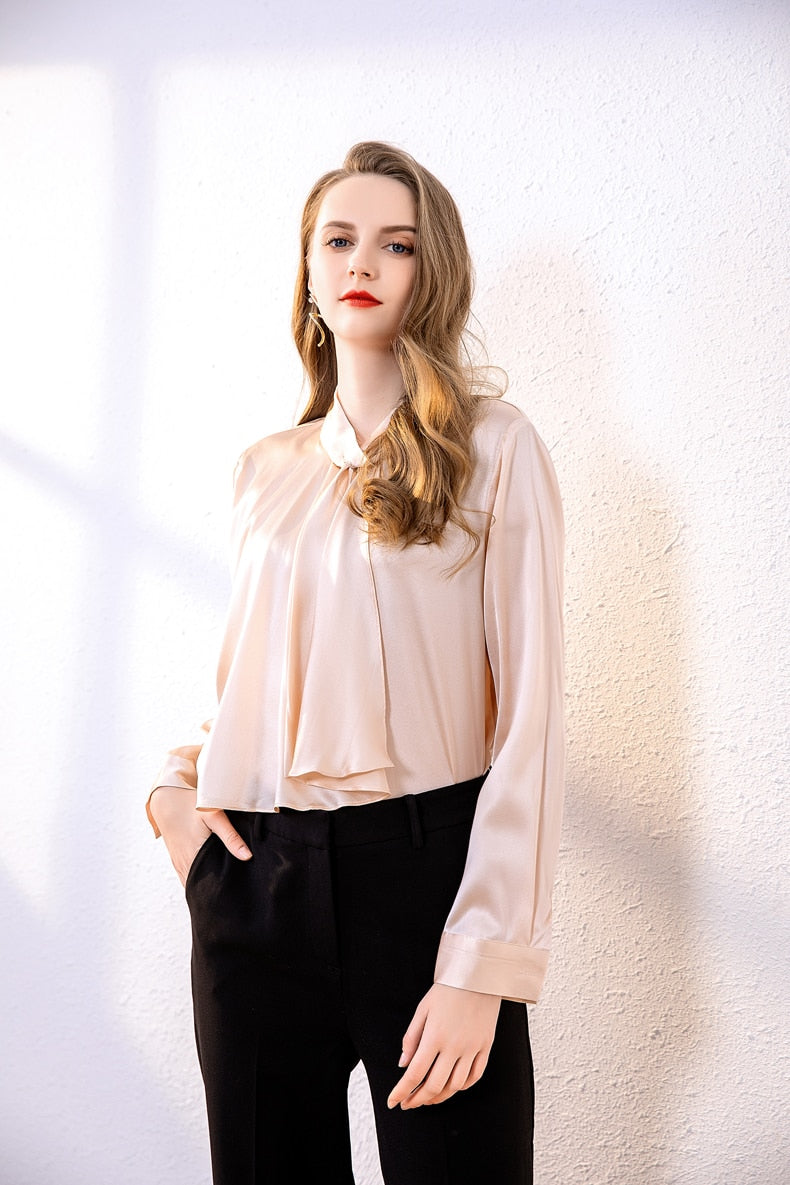 100% Pure Silk Women's Runway Shirts O Neck Long Sleeves Ruffles Fashion Pullover Blouse Tops - Source Silk