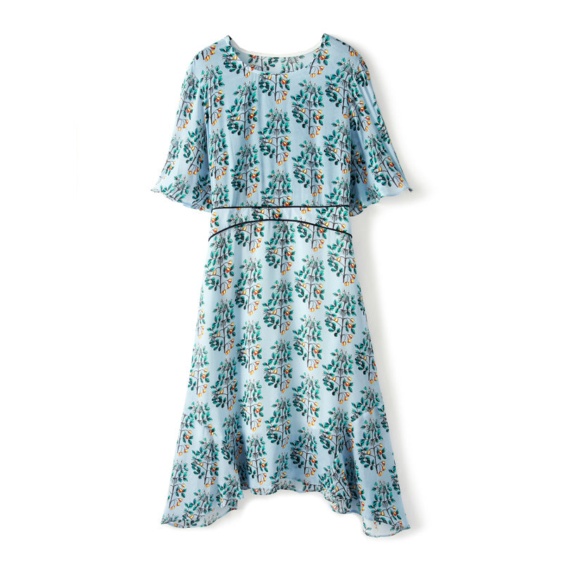 100% Silk Women's Dresses O Neck Short Sleeves Printed Floral High Quality Casual Fashion Summer Dresses - Source Silk