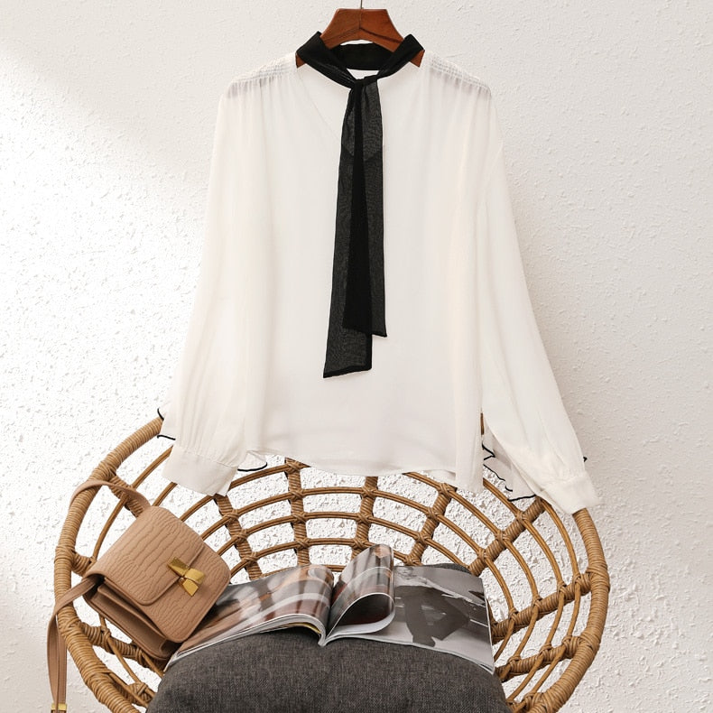 100% Natural Silk Women's Runway Shirts O Neck Lace Up Bow Long Sleeves Ruffles Fashion Pullover Blouse Tops