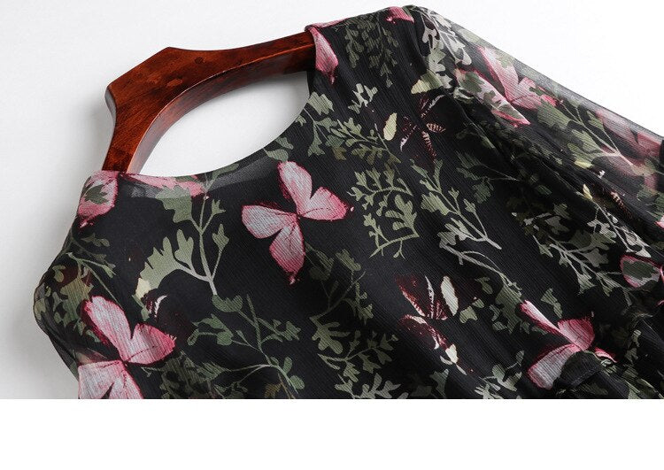 100% Silk Women's Runway Dresses O Neck Half Sleeves Ruffles Butterflies Printed Fashion Casual Dresses - Source Silk