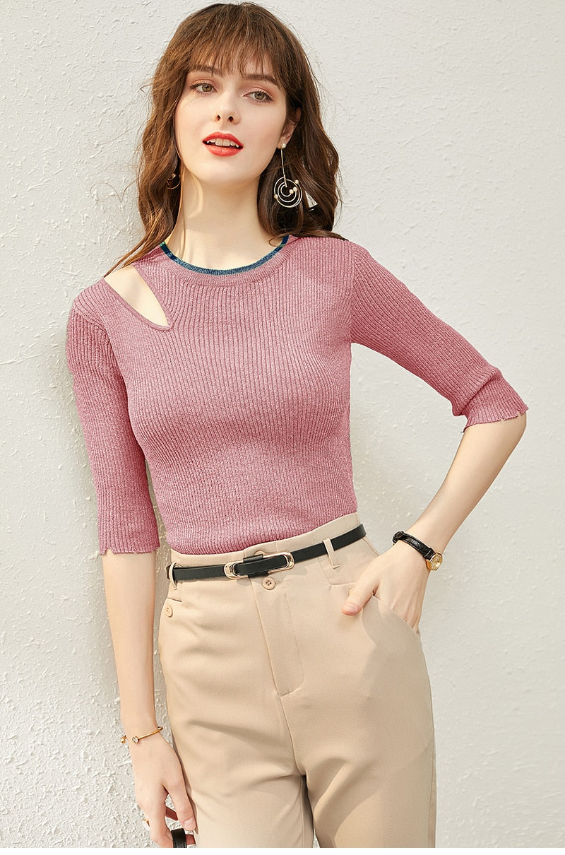 Half-Sleeve Cutout Shirt - Source Silk