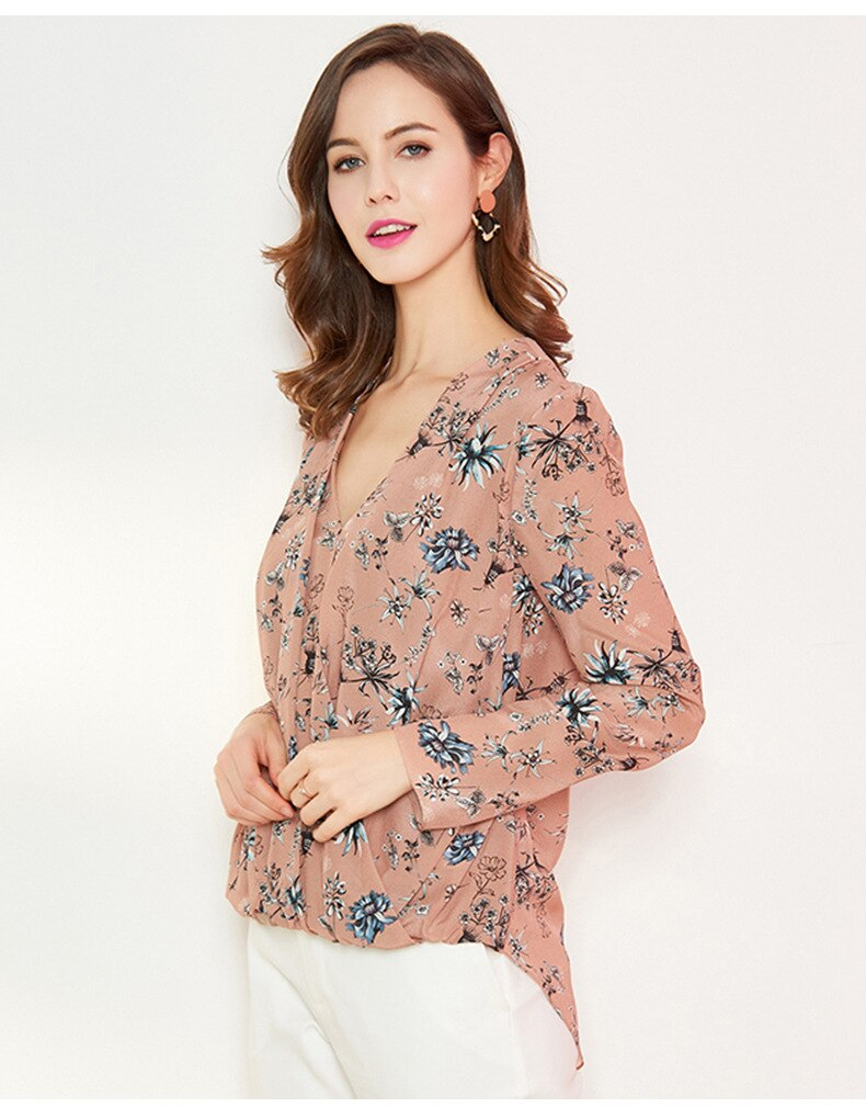 100% Silk Women's Runway Shirts Sexy V Neck Floral Printed Long Sleeves Cross Fashion Pullover Blouse Tops - Source Silk